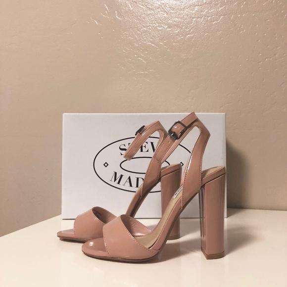 e5803174ec0 Steve Madden Paula Block Heel Sandal Patent Nude